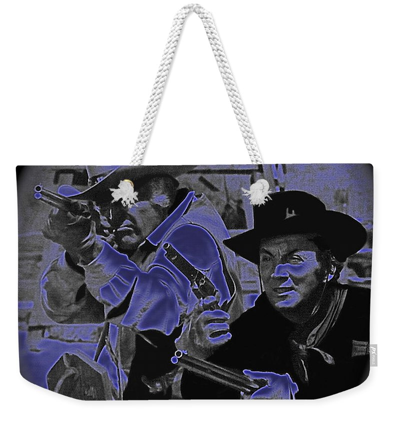 Leif Erickson And Cameron Mitchell The High Chaparral Old Tucson Arizona Howard Hawks Frances Farmer John Ford John Wayne Robert Montgomery Fighting Attacking Apaches Weekender Tote Bag featuring the photograph Leif Erickson And Cameron Mitchell The High Chaparral Old Tucson Arizona 1969 by David Lee Guss