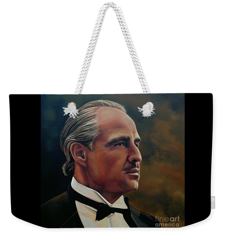 Marlon Brando Weekender Tote Bag featuring the painting Marlon Brando by Paul Meijering