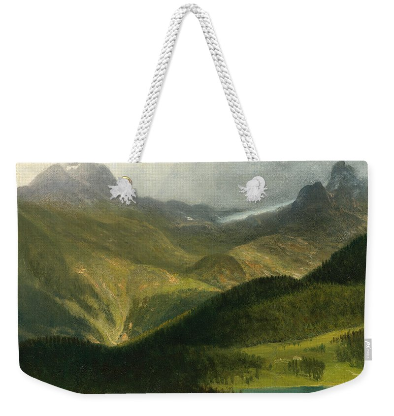 Mountain Landscape Weekender Tote Bag featuring the painting Mountain Landscape by Albert Bierstadt