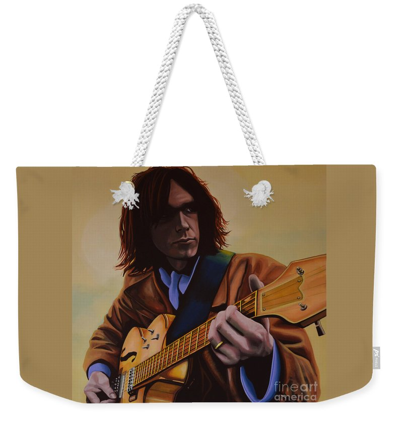 Neil Young Weekender Tote Bag featuring the painting Neil Young Painting by Paul Meijering