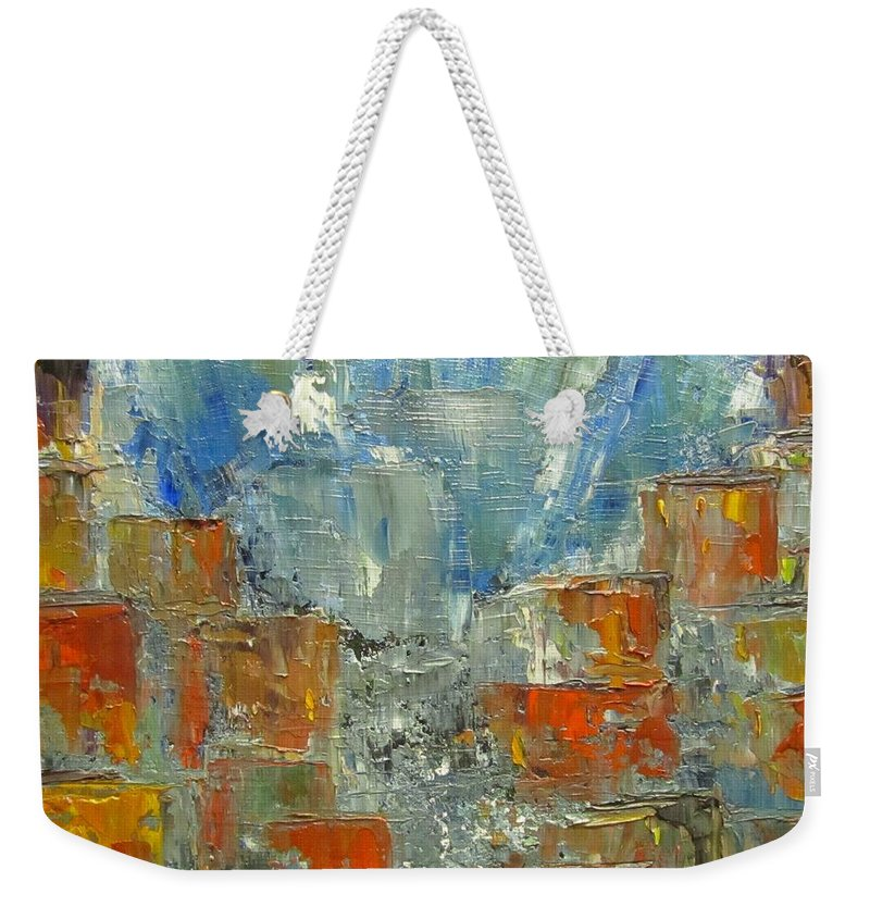 Sandra Cutrer Weekender Tote Bag featuring the painting Abstract by Sandra Reeves