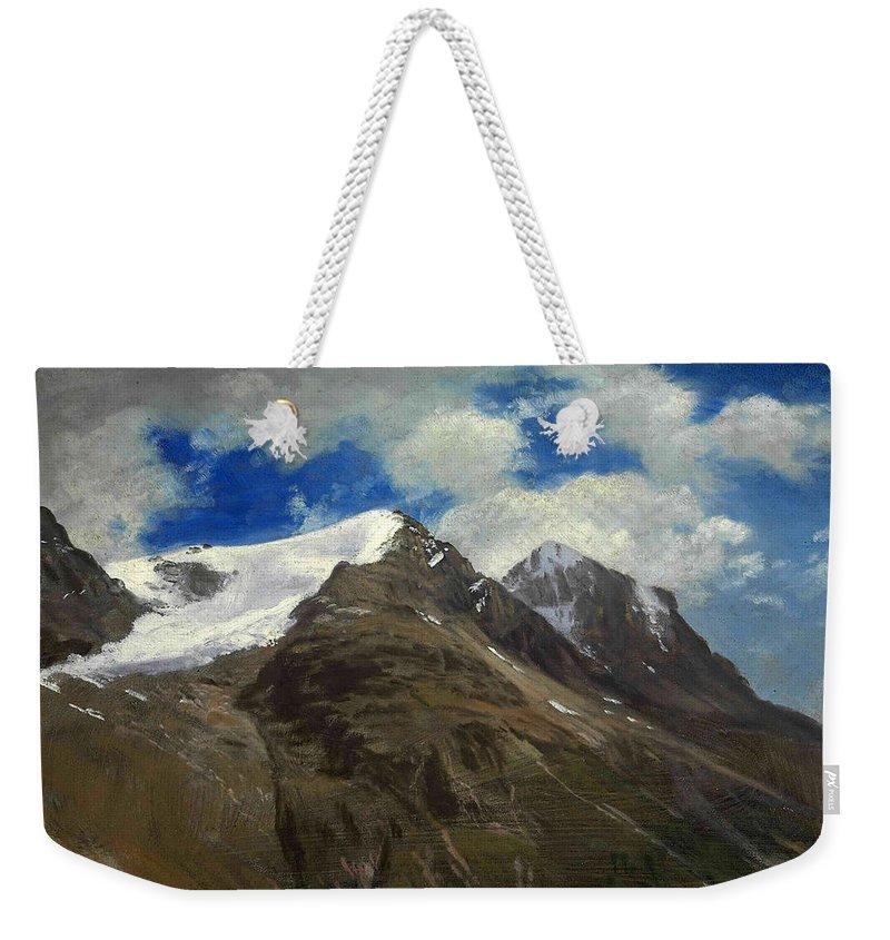 Peaks In The Rockies Weekender Tote Bag featuring the painting  Peaks In The Rockies by Albert Bierstadt
