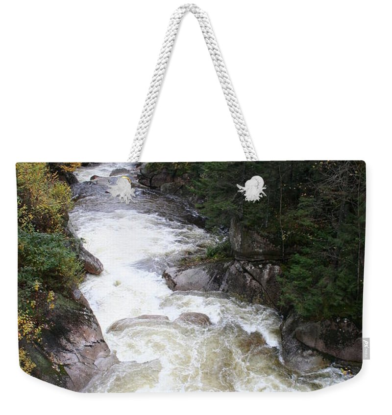 Franconia Notch Weekender Tote Bag featuring the photograph Pemigewasset River Franconia Notch by Christiane Schulze Art And Photography