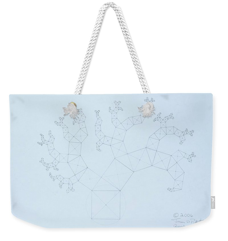 Fractal Tree Weekender Tote Bag featuring the drawing Quantum Tree by Jason Padgett