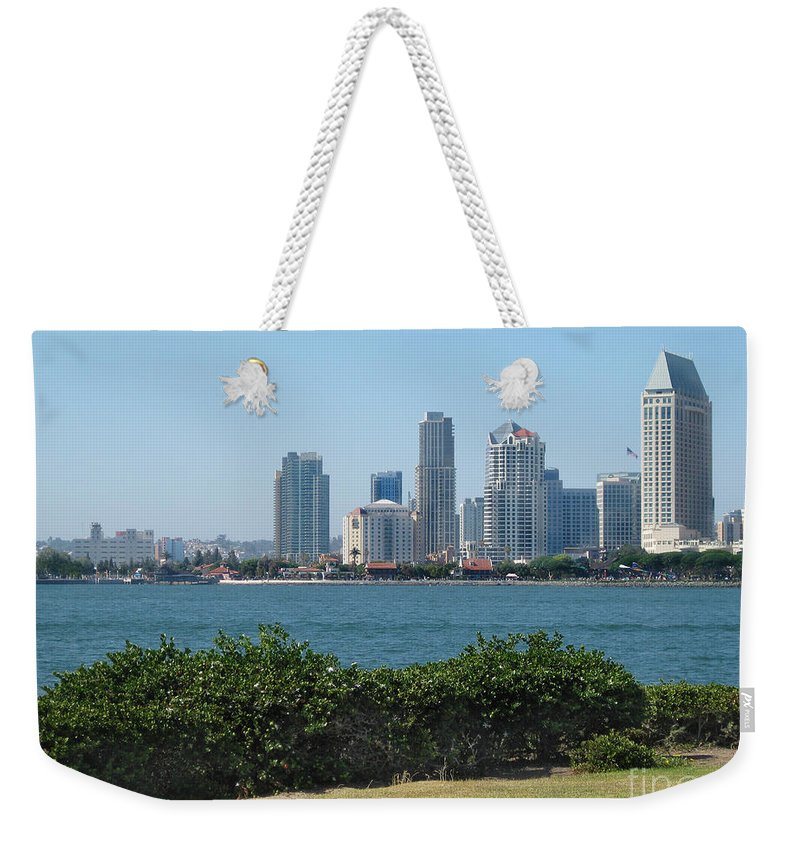 Architecture Weekender Tote Bag featuring the photograph San Diego Viewed From Coronado Island by Claudia Ellis