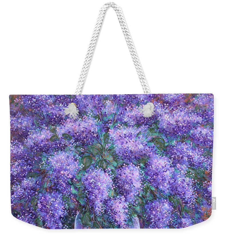 Flowers Weekender Tote Bag featuring the painting Scented Lilacs Bouquet by Natalie Holland
