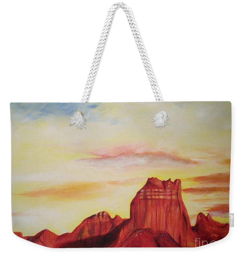 Western Weekender Tote Bag featuring the painting Sedona Az by Eric Schiabor