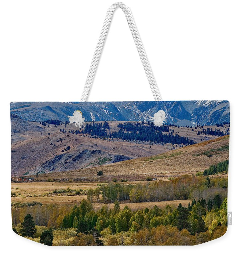 Sierras Mountains In California. Fall Season At The Sierras Weekender Tote Bag featuring the photograph Sierras Mountains by Mae Wertz