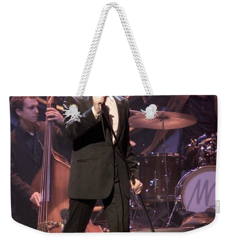 Pictures Weekender Tote Bag featuring the photograph Singer Michael Buble by Concert Photos