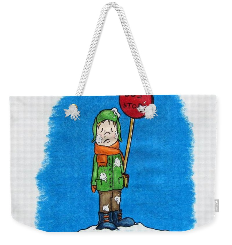 Michael Weekender Tote Bag featuring the drawing  Snowballs Suck by Michael TMAD Finney