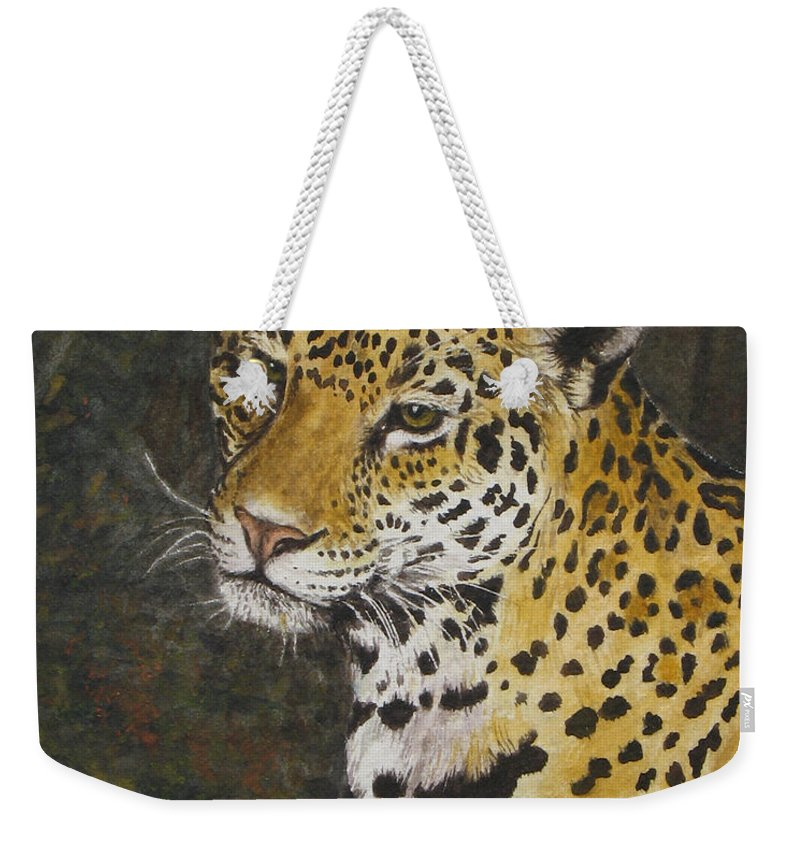 Wildlife Weekender Tote Bag featuring the painting South American Jaguar by Elaine Booth-Kallweit