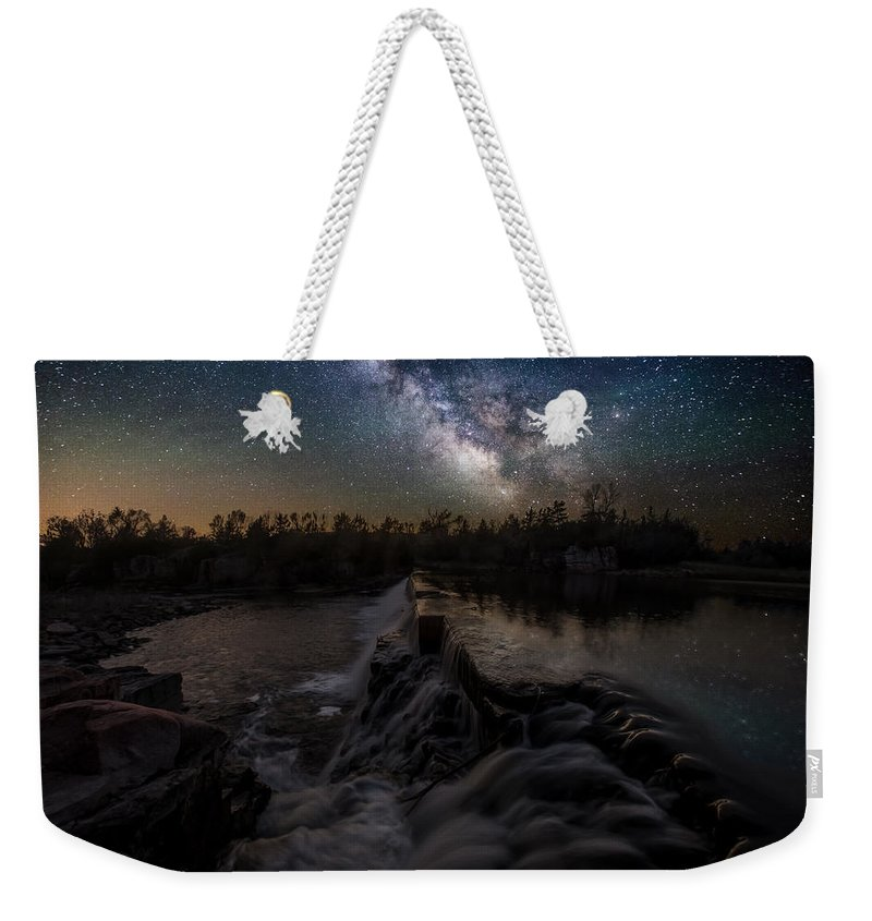 Milky Way Weekender Tote Bag featuring the photograph Split Rock Dreamscape by Aaron J Groen