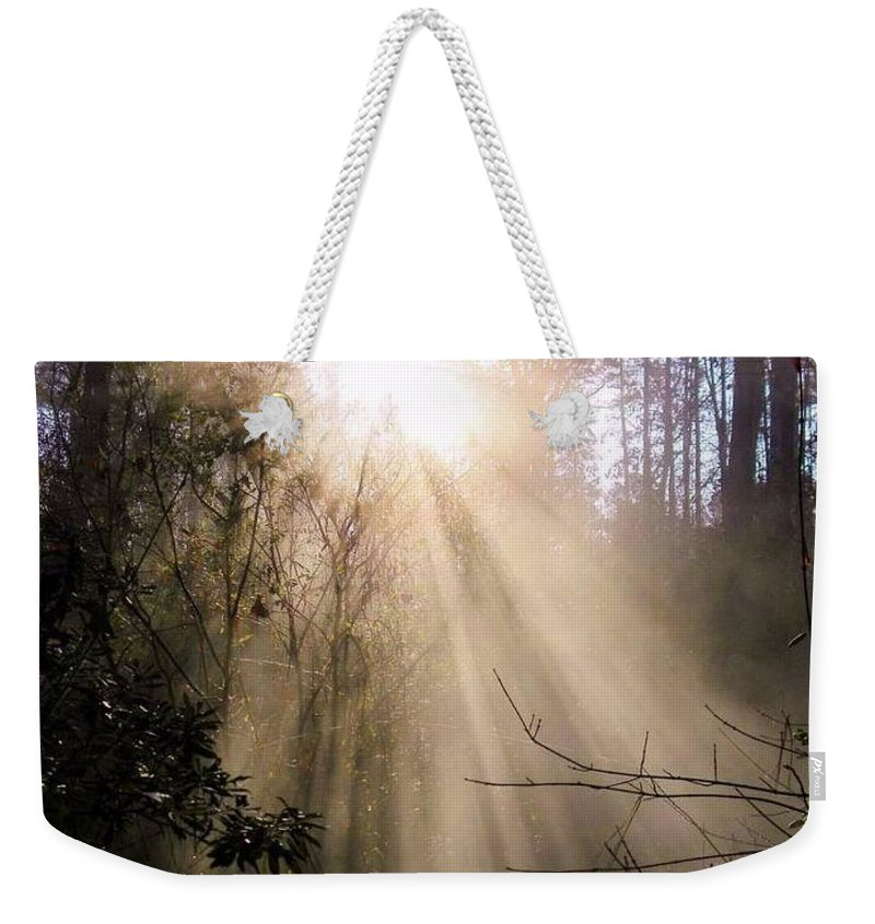 Postcard Weekender Tote Bag featuring the digital art Sunrise Of Faith by Matthew Seufer