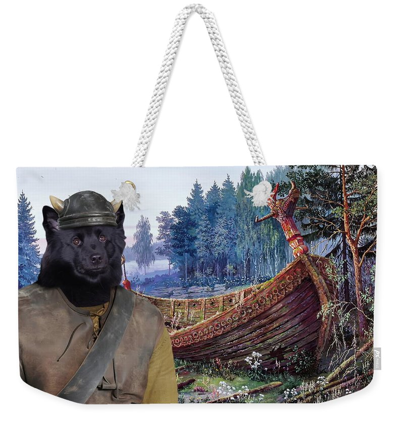 Swedish Lapphund Weekender Tote Bag featuring the painting Swedish Lapphund Art Canvas Print by Sandra Sij