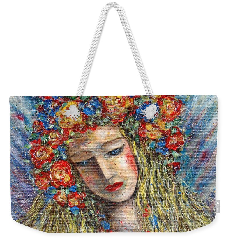 Painting Weekender Tote Bag featuring the painting The Loving Angel by Natalie Holland
