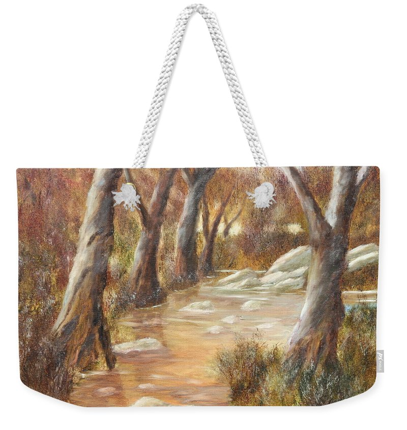 Landscape Weekender Tote Bag featuring the painting Tranquility by Lou Magoncia