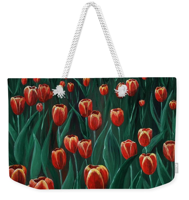 May Weekender Tote Bag featuring the painting Tulip Festival by Anastasiya Malakhova