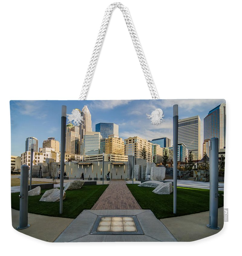 Romare Bearden Weekender Tote Bag featuring the photograph View Of Charlotte Skyline by Alex Grichenko
