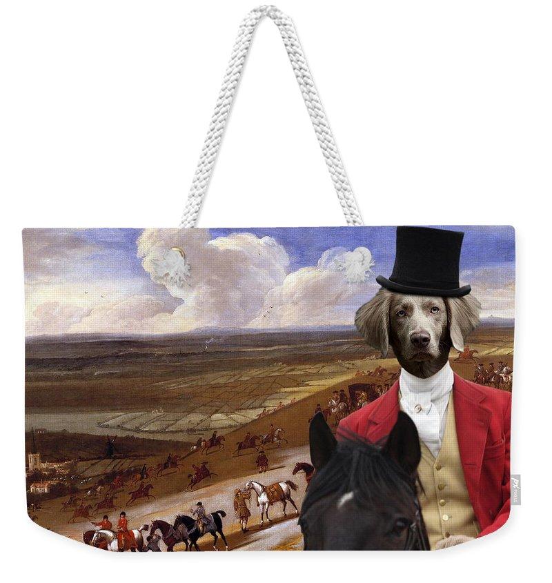 Weimaraner Weekender Tote Bag featuring the painting Weimaraner Art Canvas Print by Sandra Sij