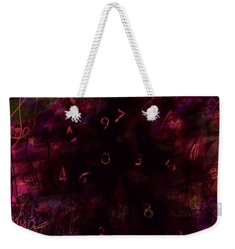 Abstract Weekender Tote Bag featuring the digital art 0 Through 9 by Rachel Christine Nowicki