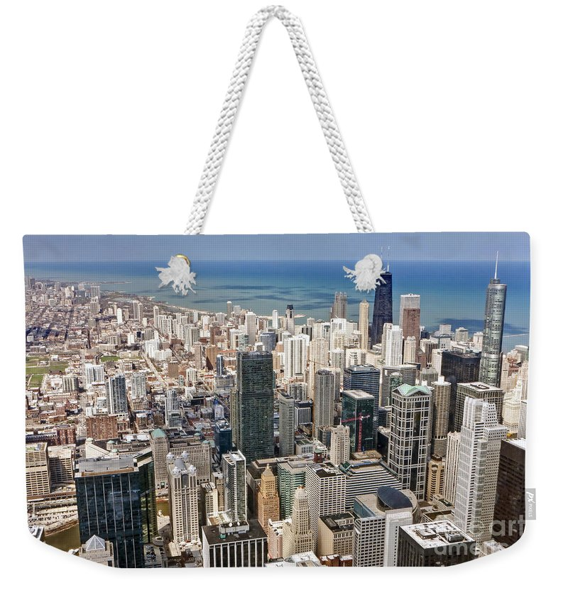 Chicago Weekender Tote Bag featuring the photograph 0001 Chicago Skyline by Steve Sturgill