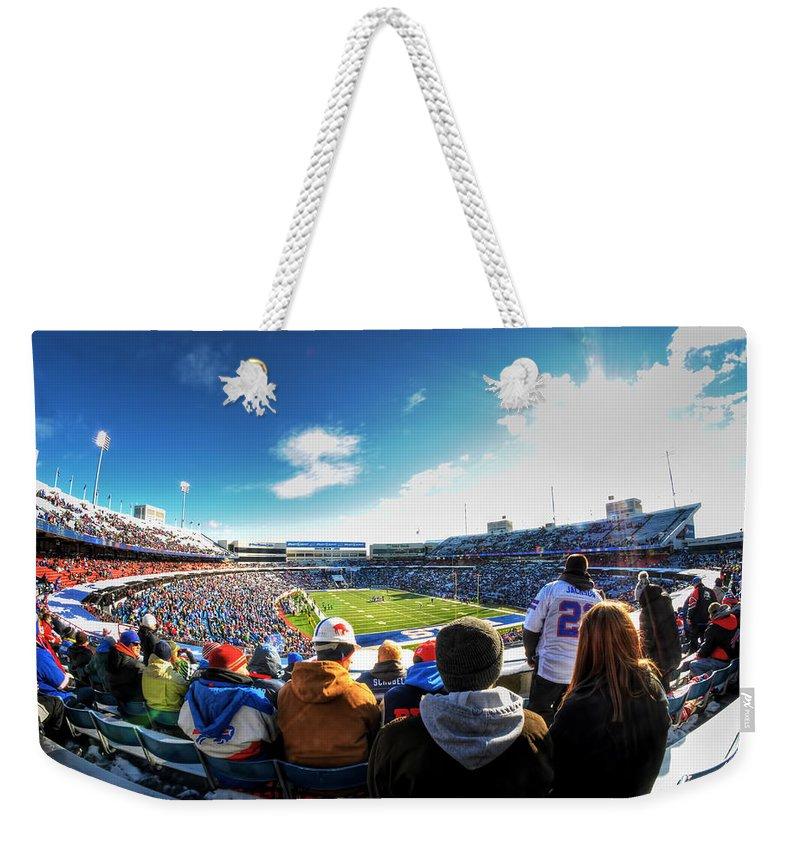 Buffalo Weekender Tote Bag featuring the photograph 001 Buffalo Bills Vs Jets 30dec12 by Michael Frank Jr