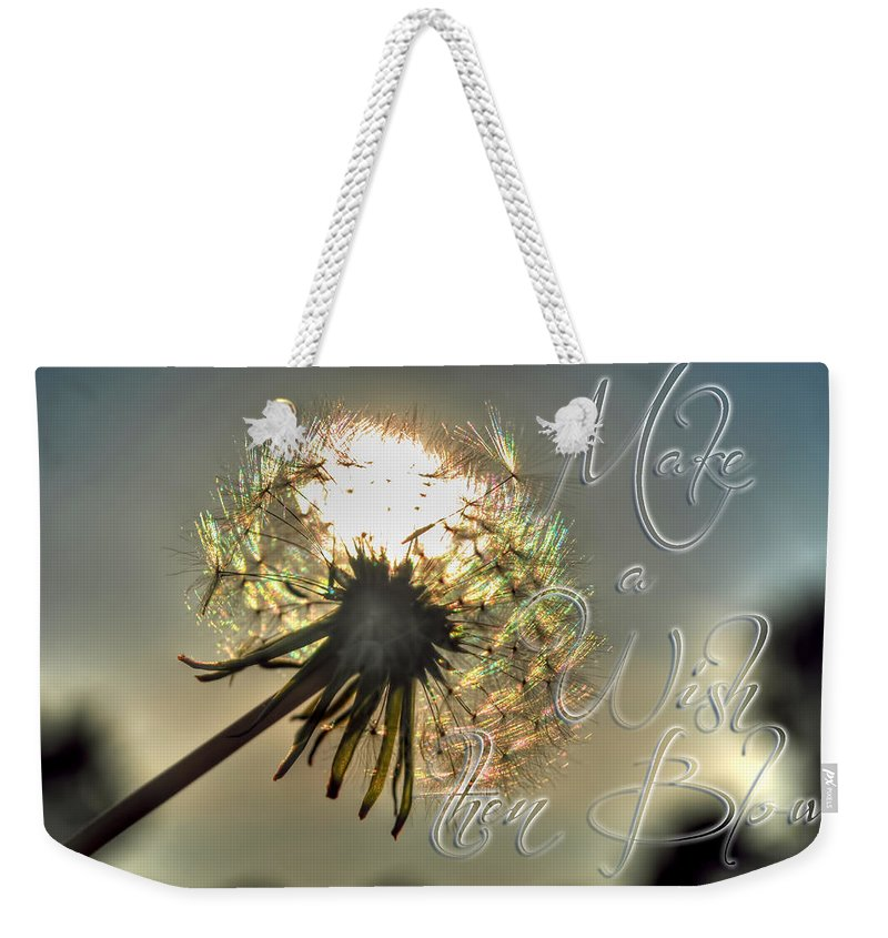 Taraxacum Weekender Tote Bag featuring the photograph 001 Make A Wish At Sunset With Text by Michael Frank Jr