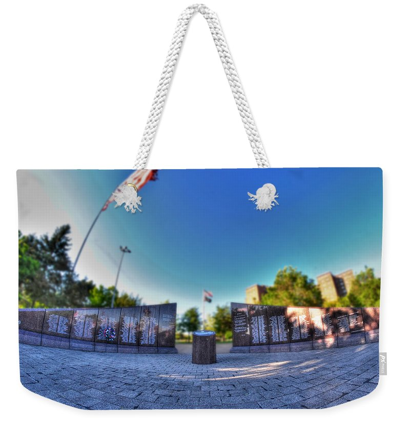 Memorial Weekender Tote Bag featuring the photograph 001 We Will Not Forget At The Erie Basin Marina by Michael Frank Jr