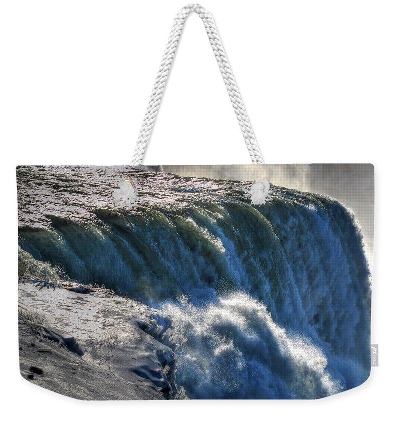 Niagara Falls Weekender Tote Bag featuring the photograph 0010 Niagara Falls Winter Wonderland Series by Michael Frank Jr