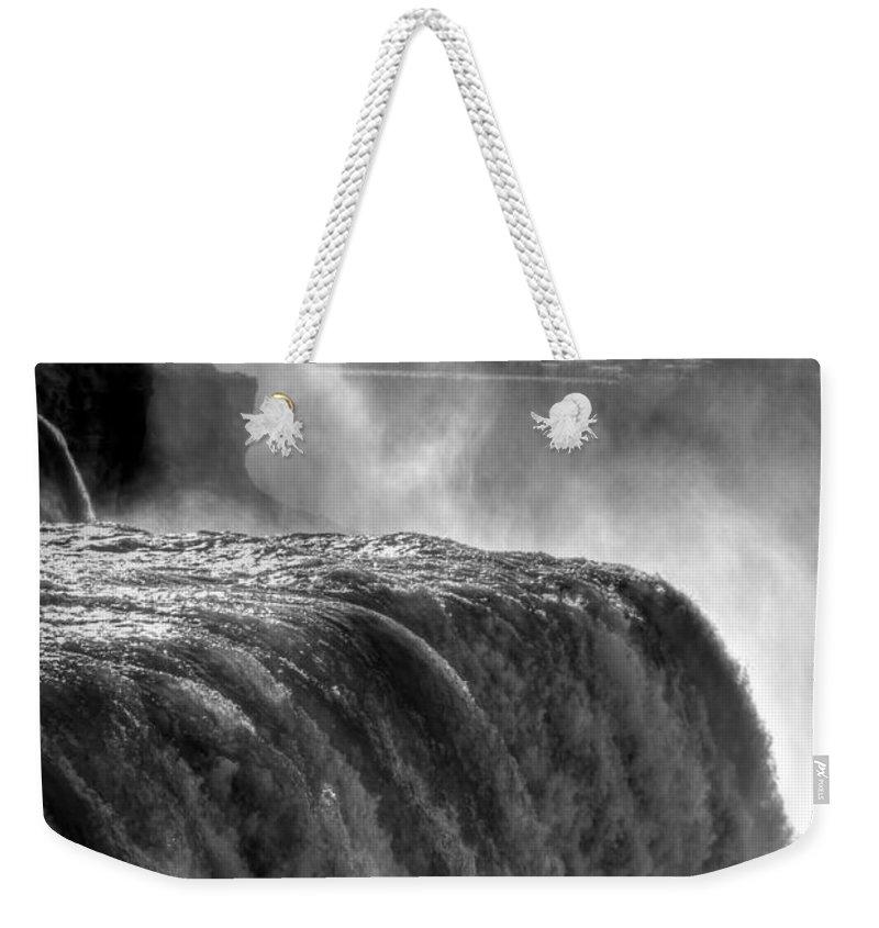 Niagara Falls Weekender Tote Bag featuring the photograph 0011a Niagara Falls Winter Wonderland Series by Michael Frank Jr