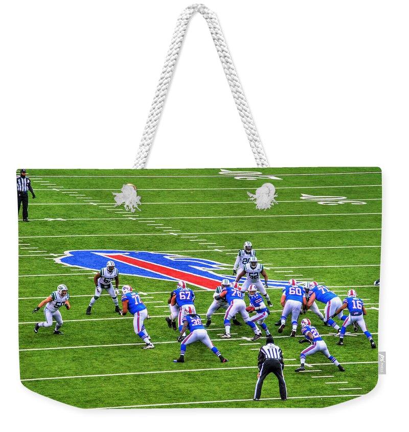 Buffalo Weekender Tote Bag featuring the photograph 0013 Buffalo Bills Vs Jets 30dec12 by Michael Frank Jr