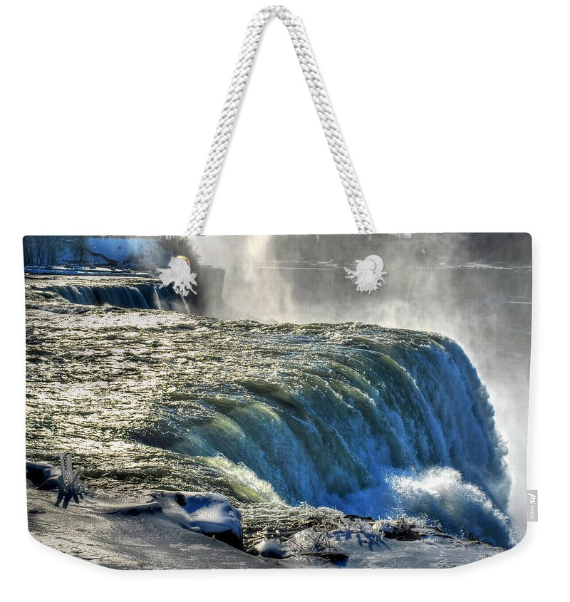 Niagara Falls Weekender Tote Bag featuring the photograph 0013 Niagara Falls Winter Wonderland Series by Michael Frank Jr