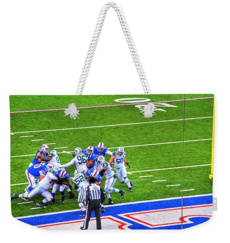 Buffalo Weekender Tote Bag featuring the photograph 0016 Buffalo Bills Vs Jets 30dec12 by Michael Frank Jr