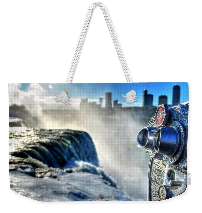 Niagara Falls Weekender Tote Bag featuring the photograph 0016 Niagara Falls Winter Wonderland Series by Michael Frank Jr