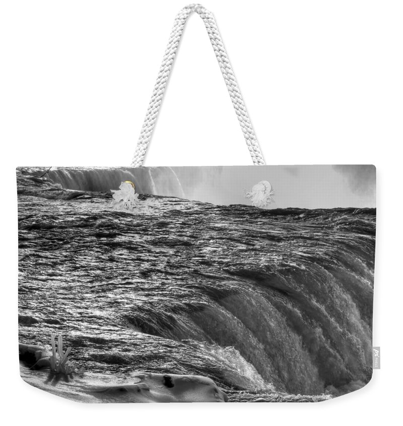 Niagara Falls Weekender Tote Bag featuring the photograph 0017a Niagara Falls Winter Wonderland Series by Michael Frank Jr