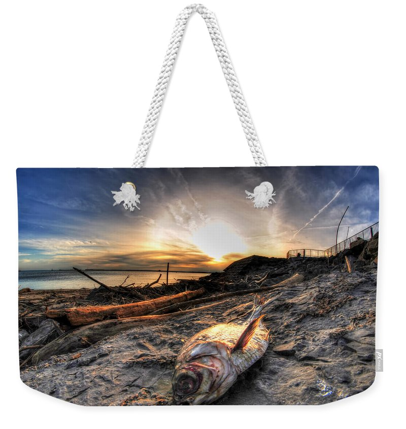 Water Weekender Tote Bag featuring the photograph 002 After The Ice Melts Erie Basin Marina Series by Michael Frank Jr