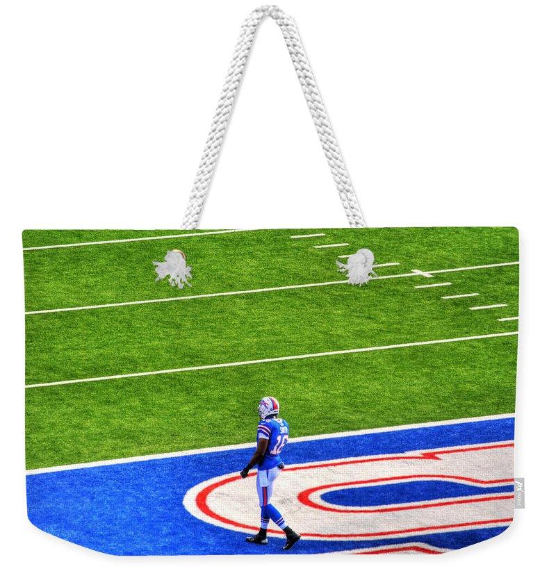 Buffalo Weekender Tote Bag featuring the photograph 002 Buffalo Bills Vs Jets 30dec12 by Michael Frank Jr