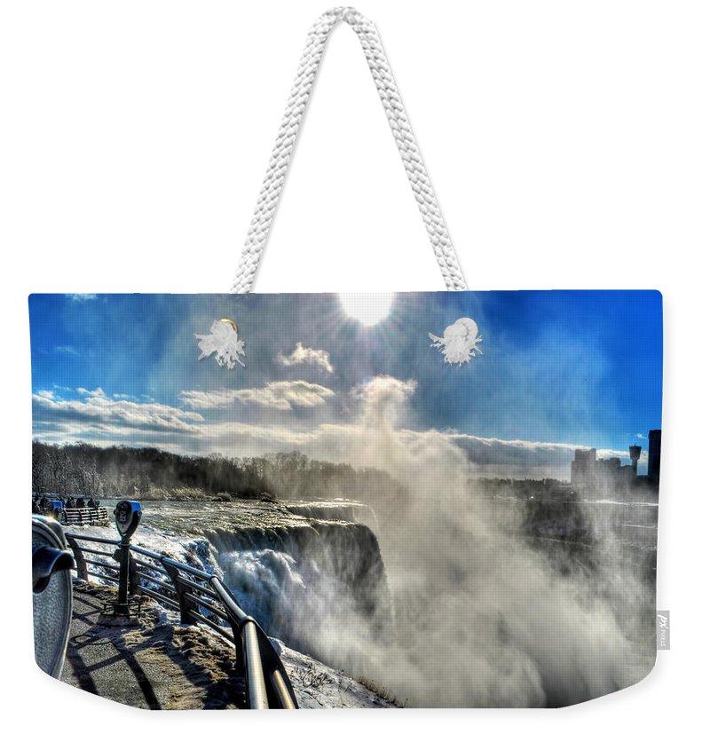 Niagara Falls Weekender Tote Bag featuring the photograph 002 Niagara Falls Winter Wonderland Series by Michael Frank Jr