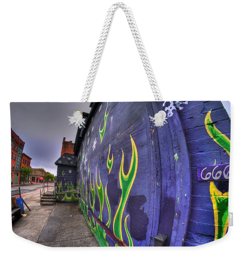 Allentown Weekender Tote Bag featuring the photograph 002 The Pink by Michael Frank Jr