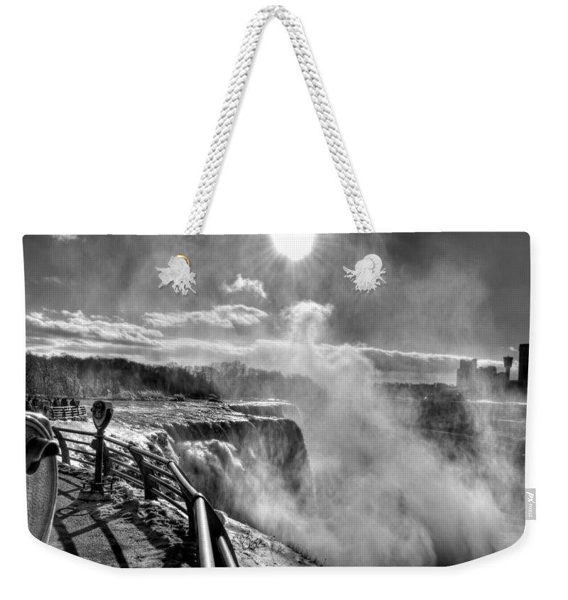 Niagara Falls Weekender Tote Bag featuring the photograph 002a Niagara Falls Winter Wonderland Series by Michael Frank Jr