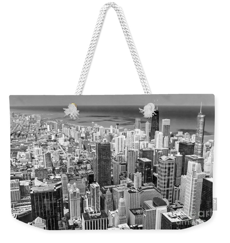 Chicago Weekender Tote Bag featuring the photograph 0036 Chicago Skyline Black And White by Steve Sturgill