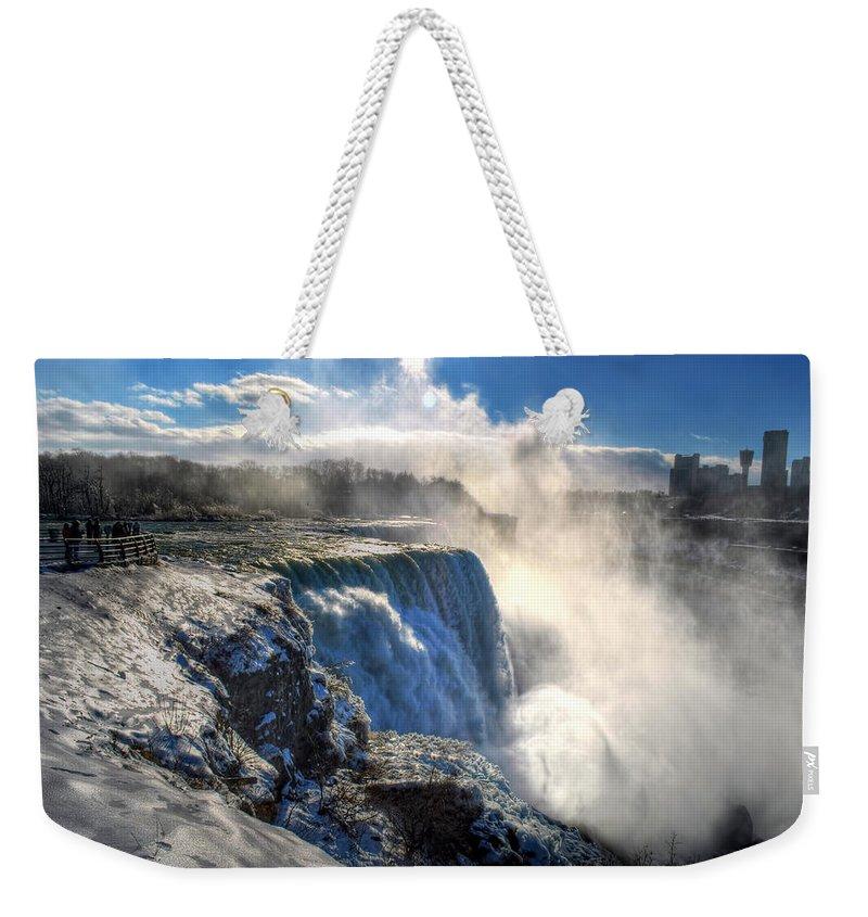 Niagara Falls Weekender Tote Bag featuring the photograph 004 Niagara Falls Winter Wonderland Series by Michael Frank Jr