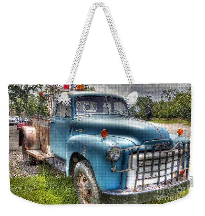 Truck Weekender Tote Bag featuring the photograph 0042 Old Blue 2 by Steve Sturgill