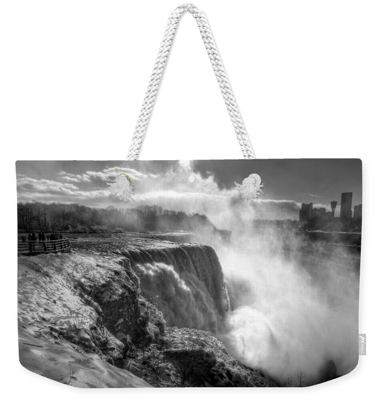 Niagara Falls Weekender Tote Bag featuring the photograph 004a Niagara Falls Winter Wonderland Series by Michael Frank Jr
