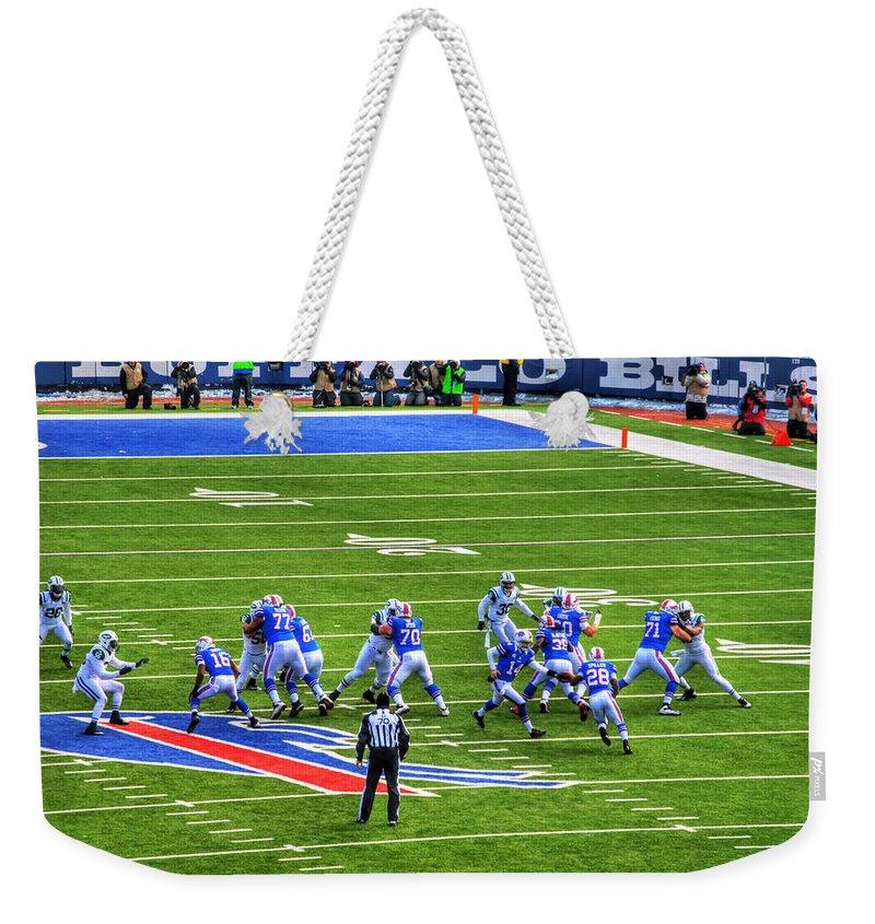 Buffalo Weekender Tote Bag featuring the photograph 005 Buffalo Bills Vs Jets 30dec12 by Michael Frank Jr