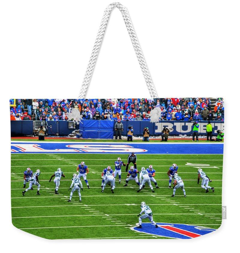 Buffalo Weekender Tote Bag featuring the photograph 007 Buffalo Bills Vs Jets 30dec12 by Michael Frank Jr
