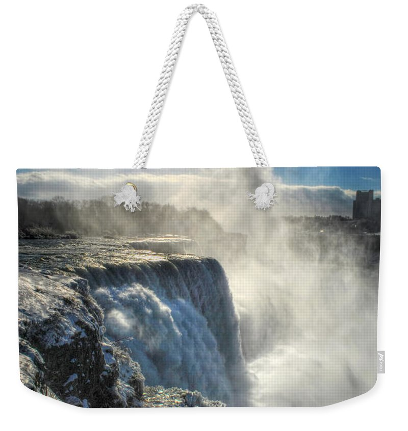 Niagara Falls Weekender Tote Bag featuring the photograph 007 Niagara Falls Winter Wonderland Series by Michael Frank Jr