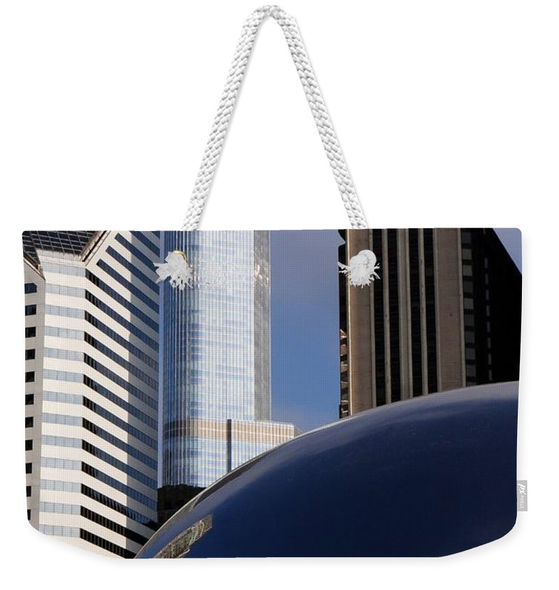 Millennium Weekender Tote Bag featuring the photograph 0081 The Bean And Trump by Steve Sturgill