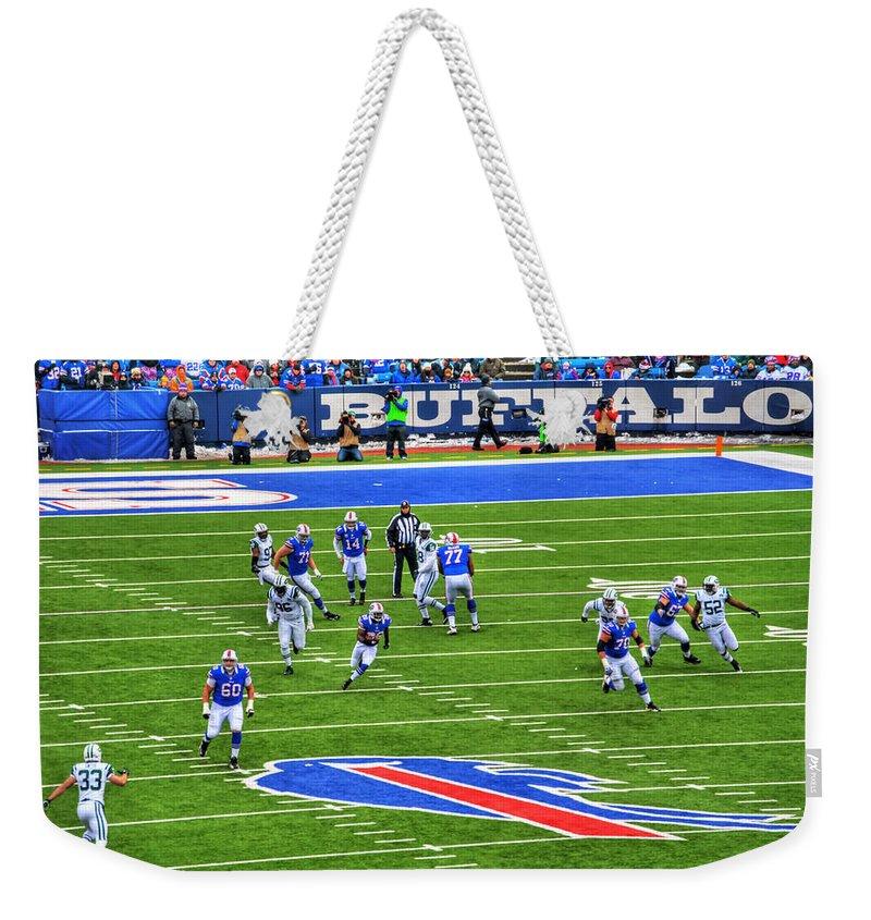 Buffalo Weekender Tote Bag featuring the photograph 009 Buffalo Bills Vs Jets 30dec12 by Michael Frank Jr