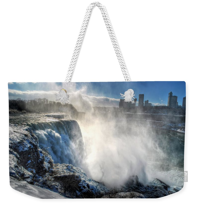 Niagara Falls Weekender Tote Bag featuring the photograph 009 Niagara Falls Winter Wonderland Series by Michael Frank Jr